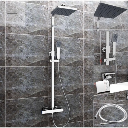 Square Shower with Twin Head